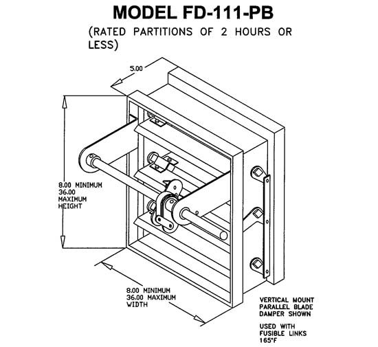 "FD-111-PB, 10x26 - Lloyd Industries,Multi Blade Dynamic Fire Damper 1-1/2 Hour, Class 2, 10"" x 26"""