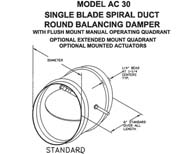 "AC-30 - 10"" Single Blade Spiral Duct Round Balancing Damper (Model #AC3010)"